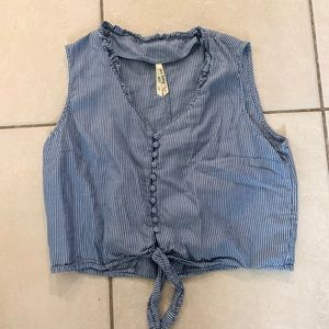 Blue and white blouse tank with tie front.
